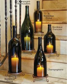 Italian wine bottle hurricanes and stands♡