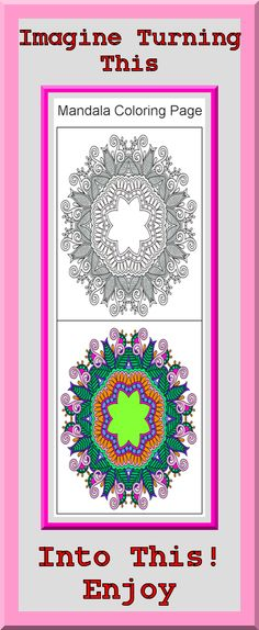 Printable Art Therapy Mandala Coloring Pages Clear sharp outlines, full color examples. Many other coloring books $4.99 at https://coloringbookspages.etsy.com