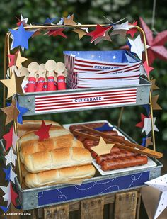 Create your own hot dog bar with toppings inspired by the patriotic colors of July 4th.