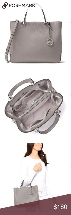03b28534e4a3 *AUTHENTIC* MK Pearl Grey Tote MICHAEL KORS ANABELLE PEARL GREY LARGE TOTE.  The