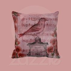 Vintage Hollyhock Song Bird pillow from Zazzle.com