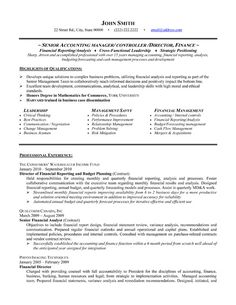 Professional resume template for a Senior Accounting Manager. Download it here.