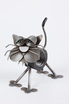 Recycled Metal Yard Art Mini Nuts The Dog Yardbirds