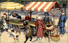 Fruit and Vegetable Stands in Cat Town - Linen Post Card - Publisher: Alfred Mainzer; Artist: Eugen Hartung