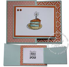 Stampin Up Sketched Birthdays and Really Good Greetings stamp sets. Joy Fold - fun fold card (click for video tutorial)