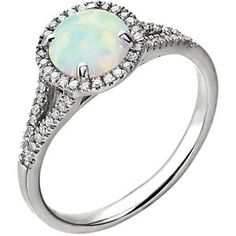 1 carat Diamond and Opal  Halo Vintage Round Split Band Engagement Promise Ring 14K White Gold (emerald included) on Etsy, $759.00