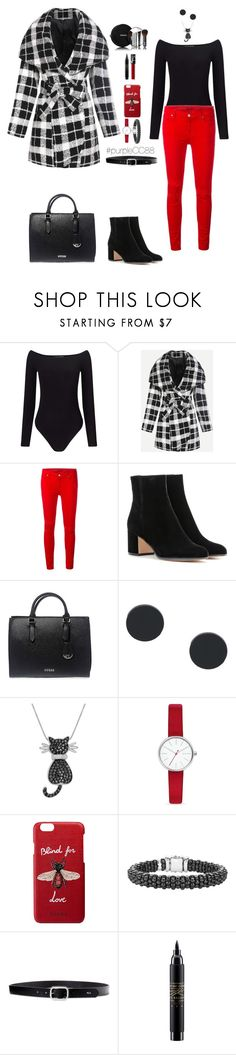 """""""Plaid Coat + Red Pants"""" by purplecc88criss ❤ liked on Polyvore featuring Miss Selfridge, 7 For All Mankind, Gianvito Rossi, GUESS, Amanda Rose Collection, Skagen, Gucci, Lagos, Lauren Ralph Lauren and MAC Cosmetics"""