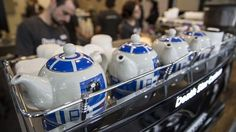 Death Star Canteen - R2-D2 teapots atop the espresso machine.
