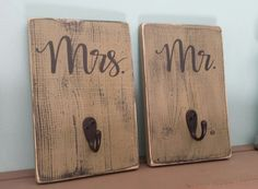 Mr and Mrs Bath Signs/Hooks Set of 2  Shabby by itswritteninvinyl