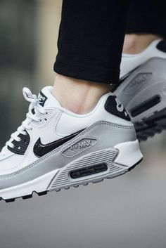 newest b2cd5 e392a White × Grey NIKE wmns Air Max 90 Essential Clothing, Shoes amp Jewelry -