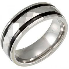 8mm Tungsten Carbide Faceted Dome Band with Black Resin Inlays