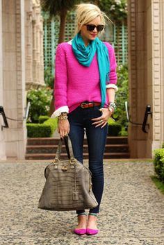 Hot pink boyfriend sweater & flats, turquoise scarf, great bag, and skinny jeans