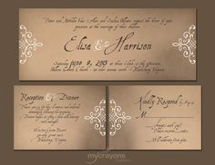 Vintage Medieval Ink Lace Wedding Invitation Set // DIY Printable - Kraft Brown and Natural Cream. $45.00, via Etsy.