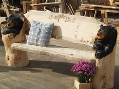 Rustic Bench  Chainsaw Carved Bear Bench chainsaw by woodZwayz