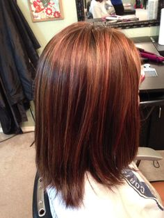 Long Brunette Bob with Red Pop and light brown highlights  Kerry Heming Brown©