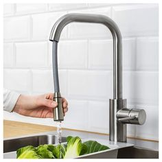 ÄLMAREN Kitchen mixer tap w pull-out spout, stainless steel colour - IKEA Ikea Kitchen Faucet, Kitchen Mixer Taps, Kitchen Tap With Hose, Stainless Steel Kitchen Faucet, Modern Kitchen Sinks, Water Efficiency, Sink Countertop, Corian Countertops, Kitchen Counters
