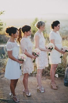 bridesmaids in mix and match white lace dresses