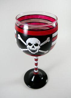Pirate wine glass hand painted nautical by ImpulsiveCreativity, $22.00