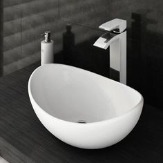Summit High Rise Waterfall Basin Mixer with Oval Counter Top Basin