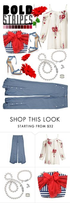"""""""Bold Stripes"""" by lustydame ❤ liked on Polyvore featuring Jamie Wei Huang, Joie, Mikimoto, Mud Pie and Alexandre Birman"""