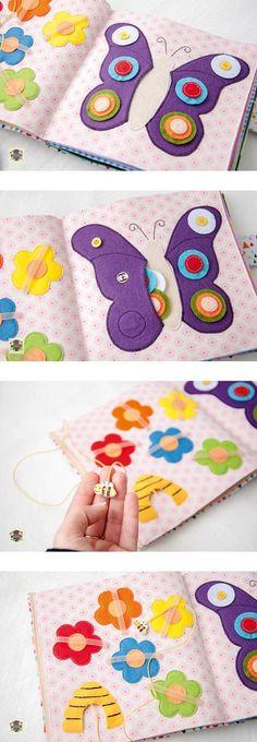 quite book pages - felt butterfly, felt bee, labyrinth - Добрые подарки: Развивающая книжка для девочки, бабочка из фетра, лабиринт с пчелкой