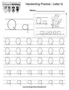 "This is a letter Q tracing worksheet. Children can trace uppercase and lowercase letters and the word ""queen."" You can download, print, or use it online. Free Printable Alphabet Worksheets, English Worksheets For Kindergarten, Letter Worksheets For Preschool, Handwriting Practice Worksheets, Handwriting Analysis, Kindergarten Writing, Handwriting Alphabet, Lettering, Italian Language"