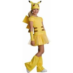 Girls Pikachu Kids Costume for Lucy  sc 1 st  Pinterest & Girls Pikachu Costume Deluxe - Pokemon - Party City | Cute costume ...