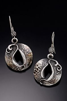 Earrings | Gale Schlagel. New Beginnings #006. Fine silver metal clay