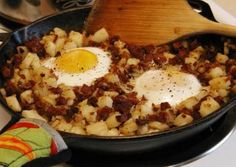 Prepare this camp version of corned beef hash in an uncovered 12-inch Dutch oven over a gas camp stove. Place a pre-heated lid on the Dutch oven to quickly cook the eggs just before serving.