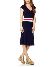 Look at this Navy & White DiMaggio V-Neck Dress on #zulily today!