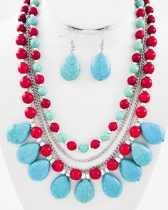 Gold Tone / Turquoise & Red Stone / Lead Compliant / Multi Row / Necklace & Fish Hook Earring Set