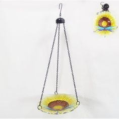 Continental Art Center Hanging Glass Sunflower and Dragonfly Bird Bath with Chains Mosaic Art, Mosaic Glass, Outdoor Christmas Decorations, Outdoor Decor, Ladybug Garden, Natural Stone Flooring, Decorative Bird Houses, Continental, Glass Butterfly