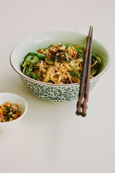 my darling lemon thyme: asparagus + dill rice noodle salad with spring onion kimchi {vegan + gluten-free}