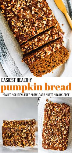 This Easy Pumpkin Bread is soft, moist and quick to make with almond flour, pumpkin puree, and cozy fall spices. A one bowl recipe that is paleo-friendly, dairy-free, gluten-free and refined sugar free making it perfect for a healthy autumn breakfast or afternoon snack! Includes low carb & keto sweetener options.Freezer friendy & great for on to go breakfast or lunchboxes. Enjoy a slice on Thanksgiving, Halloween or all through the holidays! #paleo #dairyfree #glutenfree #pumpkinbread #p Healthy Pumpkin Bread, Gluten Free Pumpkin, Pumpkin Recipes, Fall Recipes, Gluten Free Recipes For Breakfast, Low Carb Recipes, Bread Recipes, Vegan Recipes, Easy Desserts