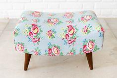 Cath Kidston stool used in my cottage Cozy Cottage, Shabby Cottage, Cottage Style, Shabby Chic, Ottoman Footstool, Cath Kidston, Vintage Flowers, Bunt, Retro