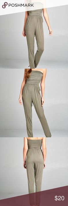 Tube Top Jumpsuit with Pockets - Light Olive NEW ARRIVAL!!! Tube Top Jumpsuit with Pockets. 95% RAYON 5% SPANDEX. Strapless tube top w/front slanted pockets jumpsuit.  Great for casual wear, music festivals or accessorize and dress up for a night on the town. BLACKASHMERE Pants Jumpsuits & Rompers
