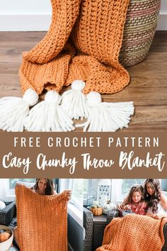 Easy Crochet Blanket, Chunky Blanket, Chunky Crochet, Free Crochet, Afghan Patterns, Crochet Blanket Patterns, Half Double Crochet, Beautiful Crochet, Free Pattern