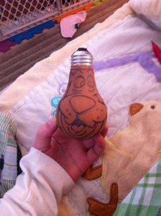 Step 2: draw scooby sketch on lightbulb #diy #lightbulb ornaments #handmade