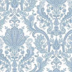 Norwall Wallcoverings Jacobean Paisley Blue, Pearl and White Wallpaper MD29431