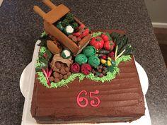 Vegetable garden (fondant vegetables) and wheelbarrow cake - for my Mums 65th birthday (Jan 2017) JFB