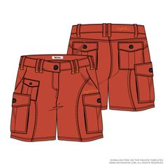 Womens-Cargo-Shorts-Vector-Template