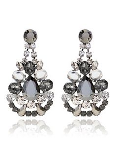 Hematite Curved Gem Statement Earrings. Was $40- Now $16 @ The Limited