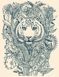 Tiger Tangle Art Print