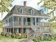 French Colonial Home Style - don't want clapboard though. Colonial House Plans, Southern House Plans, Colonial Style Homes, French Colonial, British Colonial, Primitive Homes, French Architecture, Colonial Architecture, Style At Home