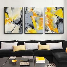 Set of 3 Wall Art framed painting grey art mustard painting 3 pieces wall art Abstract acrylic paintings on canvas original art Large Framed Wall Art, 3 Piece Wall Art, Frames On Wall, Yellow Wall Art, Yellow Painting, Acrylic Painting Canvas, Painting Frames, Grey Art, Butterfly Painting