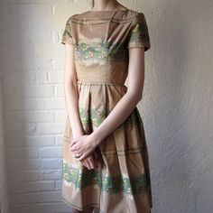 50s vintage dress // pink copper taffeta dress by BlueFennel, $70.00