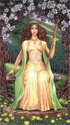 Queen of Wands by David Higgins (Sacred Isle Tarot)