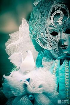 #Turquoise and white mask