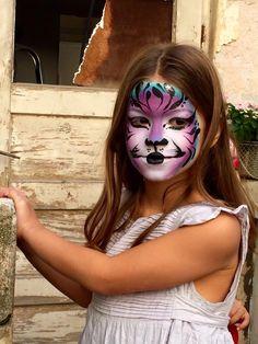 Purple tiger face painting by Artamar  Tamar Dichter Elkobi Www.artamar.co.il