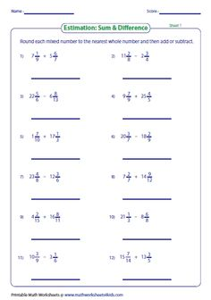 This page has over 300 estimation worksheets based on estimating the count, math operations and time; rounding whole numbers, decimal, fraction and money. Rounding Worksheets, Social Studies Worksheets, Reading Comprehension Worksheets, Number Worksheets, Multiplying Decimals, Adding And Subtracting Fractions, Math Fractions, Maths For Beginners, Scientific Method Lesson